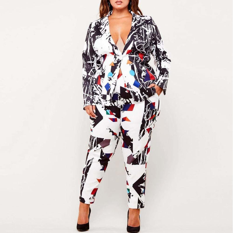 Plus Size Blazer and Pants Suit Set, Abstract Print