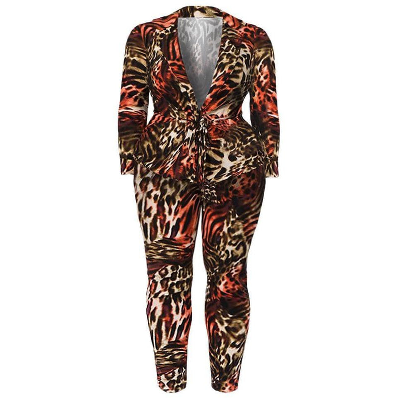 Posh Shoppe: Plus Size Animal Print Shirt Jacket and Leggings Set, Brown & Red Bottoms