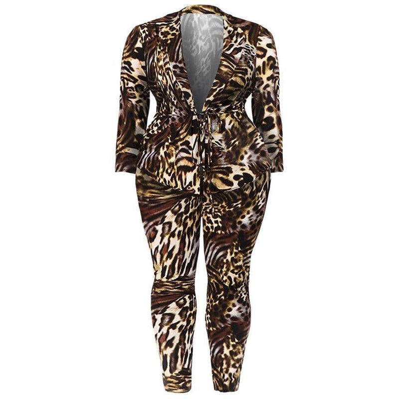 Plus Size Mid Length Blazer, Silver Animal Print