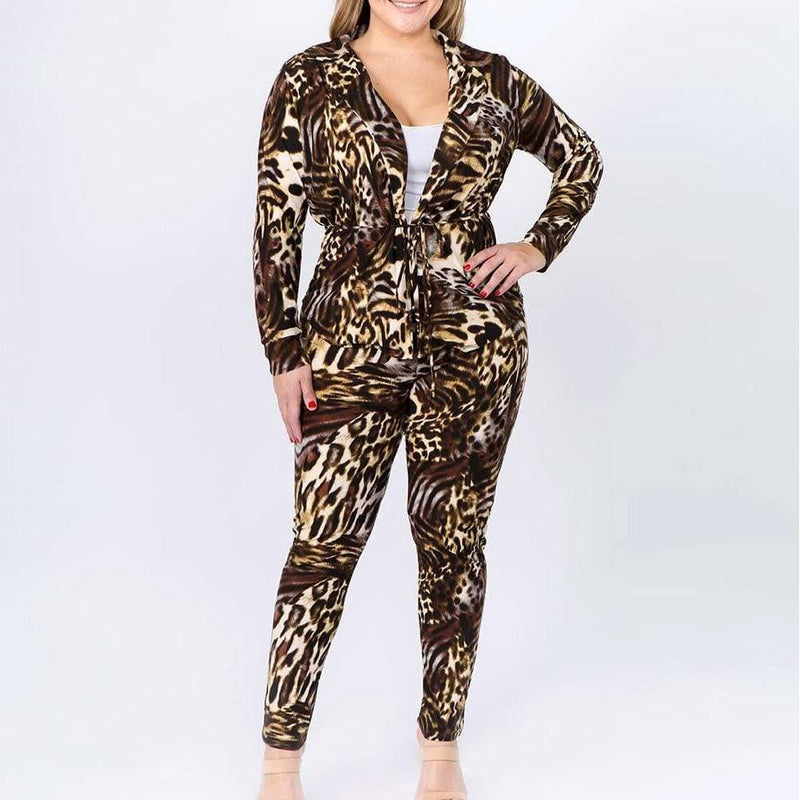 Posh Shoppe: Plus Size Animal Print Shirt Jacket and Leggings Set, Brown & Tan Bottoms