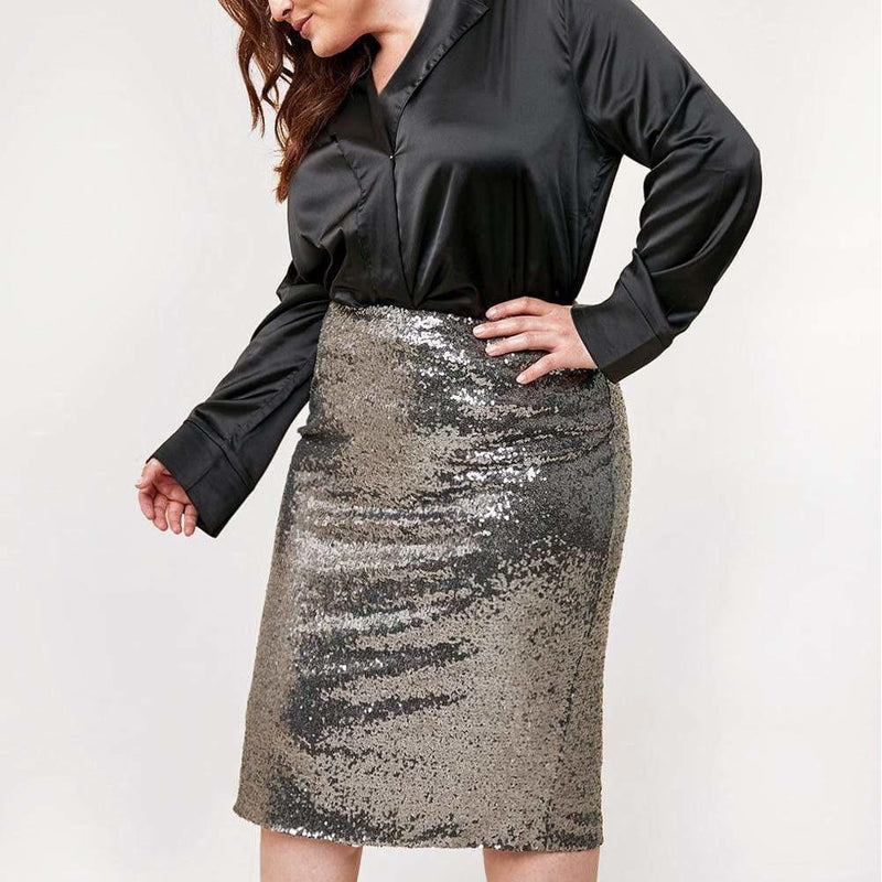 Posh Shoppe: Plus Size Platinum Sequin Pencil Skirt Bottoms