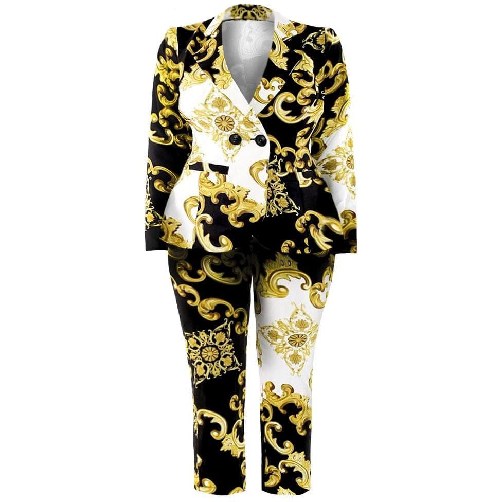 Posh Shoppe: Plus Size Blazer and Pants Suit Set, Split Flourish Print Bottoms