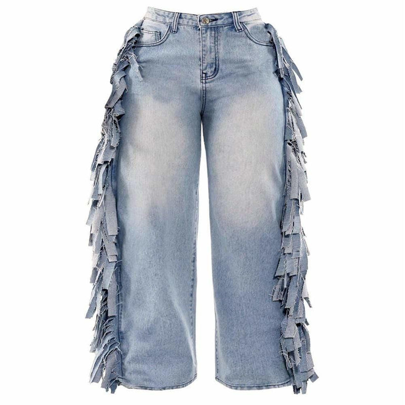 Posh Shoppe: Plus Size Wide Leg Jeans with Fringe Trim Bottoms