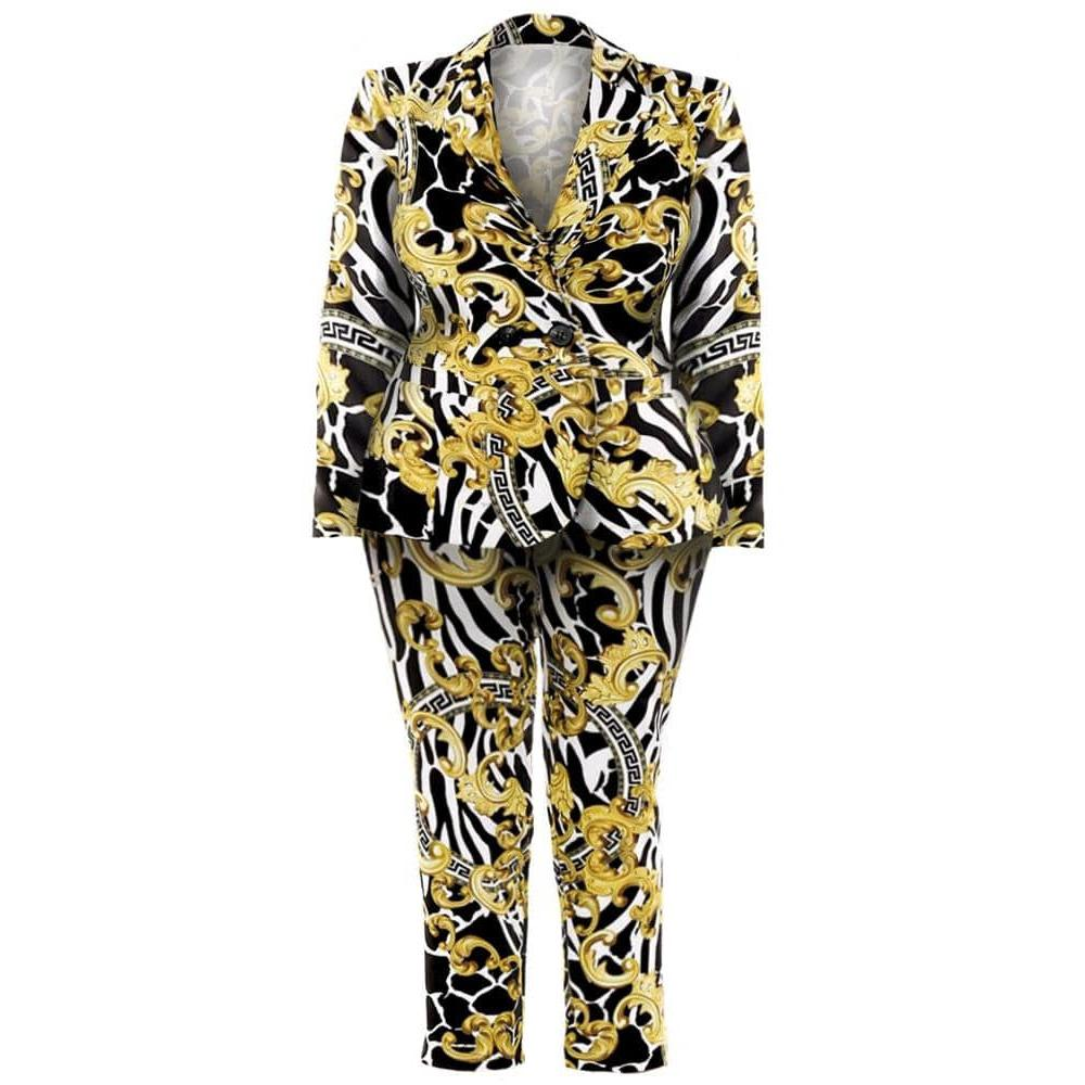 Plus Size Blazer and Pants Suit Set, Flourish and Medallion Print