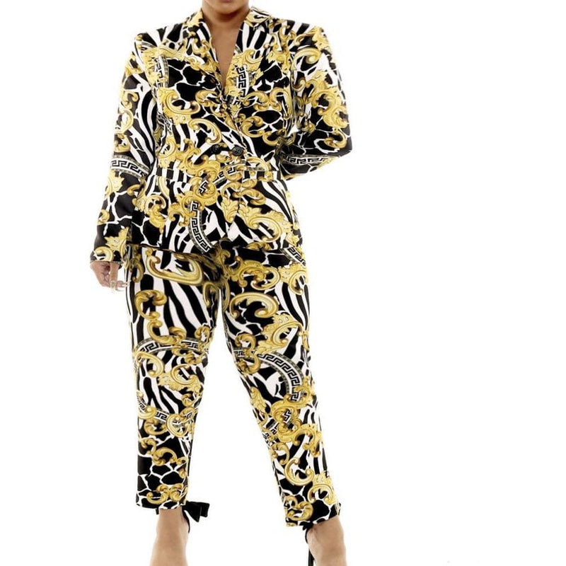 Posh Shoppe: Plus Size Blazer and Pants Suit Set, Flourish and Medallion Print Bottoms