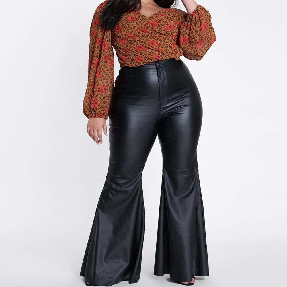 Plus Size Faux Leather Flares