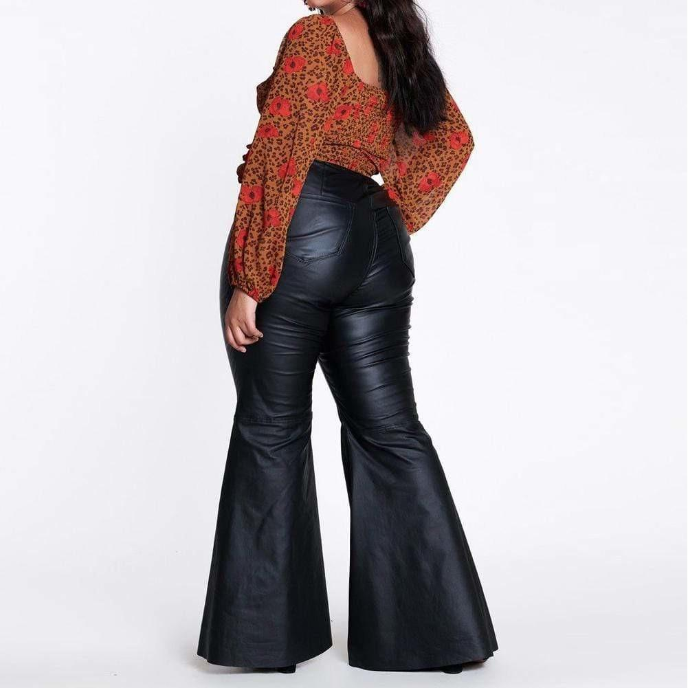 Posh Shoppe: Plus Size Faux Leather Flares Bottoms