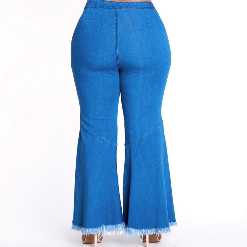 Posh Shoppe: Plus Size Kick Crop Split Front Flared Jeans Bottoms