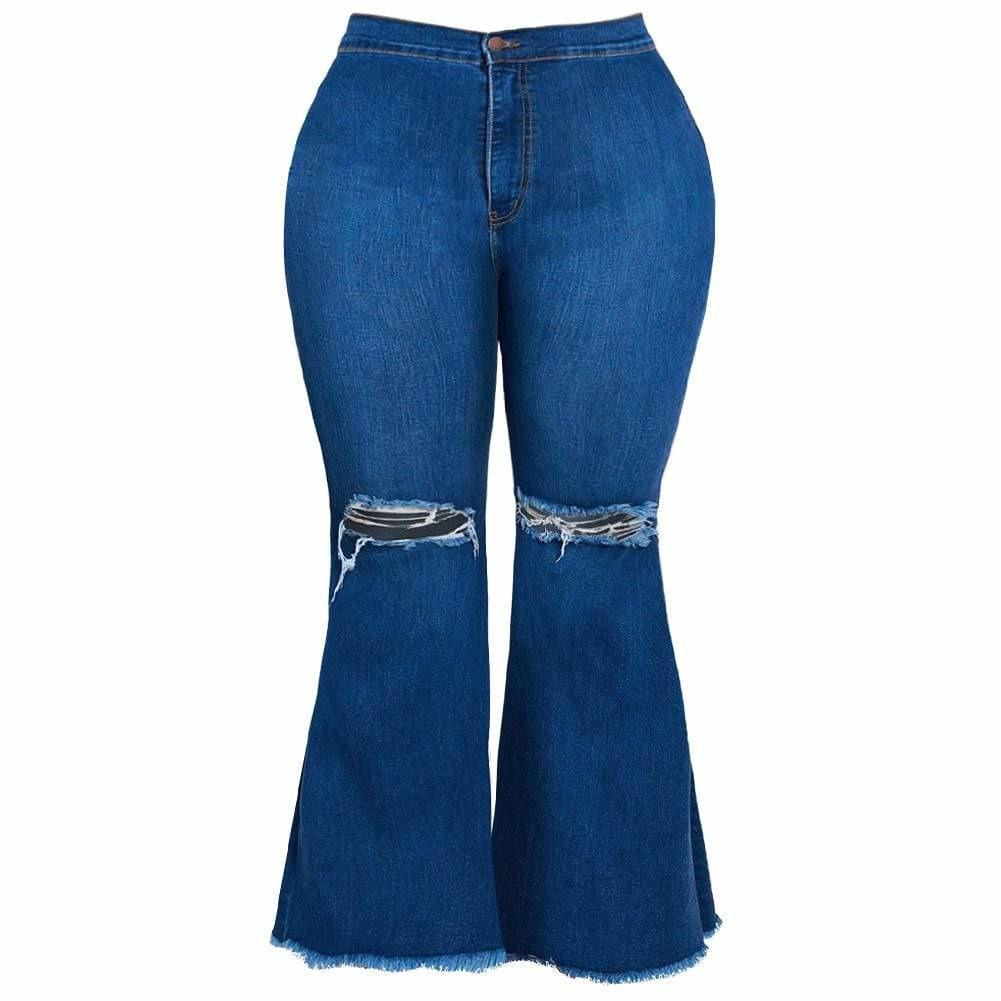 Plus Size Torn Flared Jeans, Medium Wash