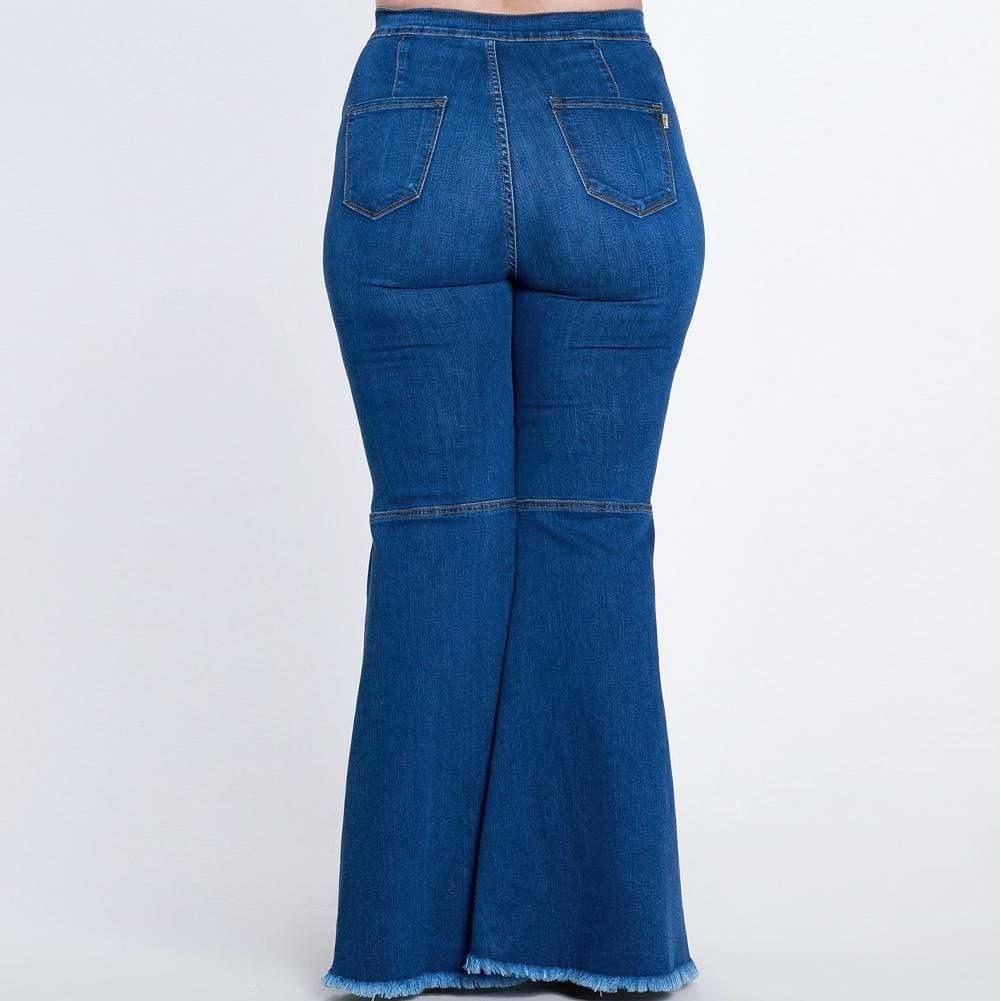 Posh Shoppe: Plus Size Torn Flared Jeans, Medium Wash Bottoms