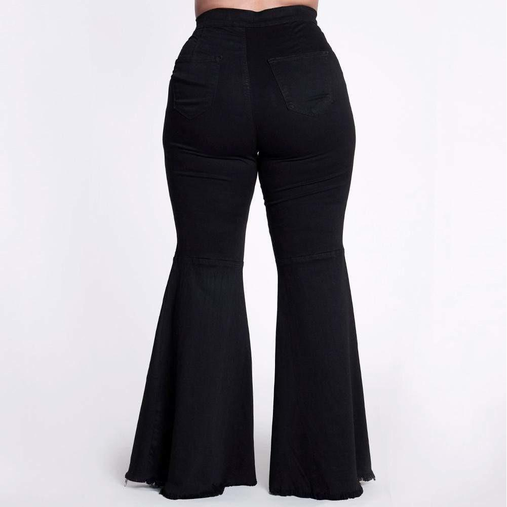 Posh Shoppe: Plus Size Torn Flared Jeans, Black Bottoms