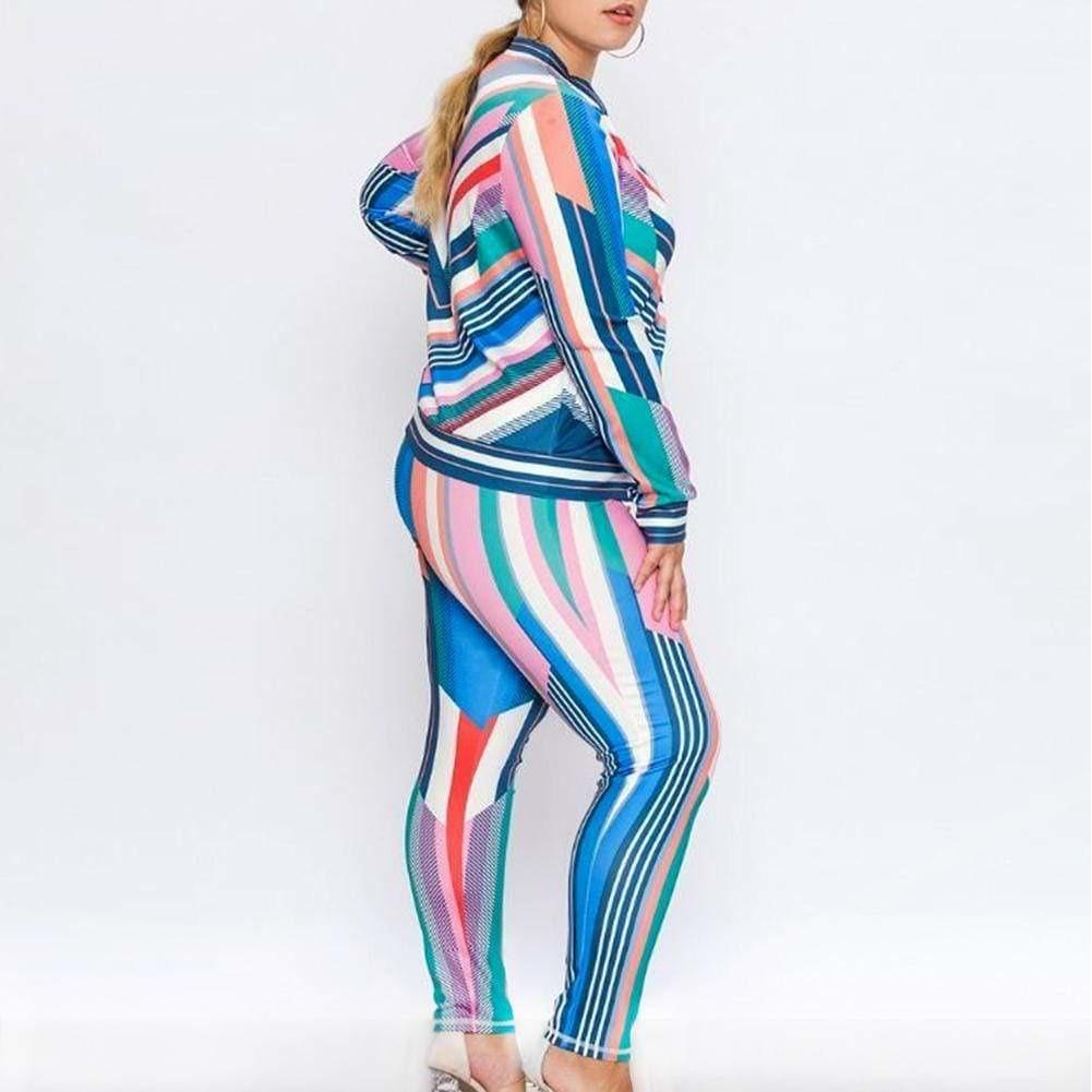 Plus Size Luxe Track Suit Set, Pastel Stripes