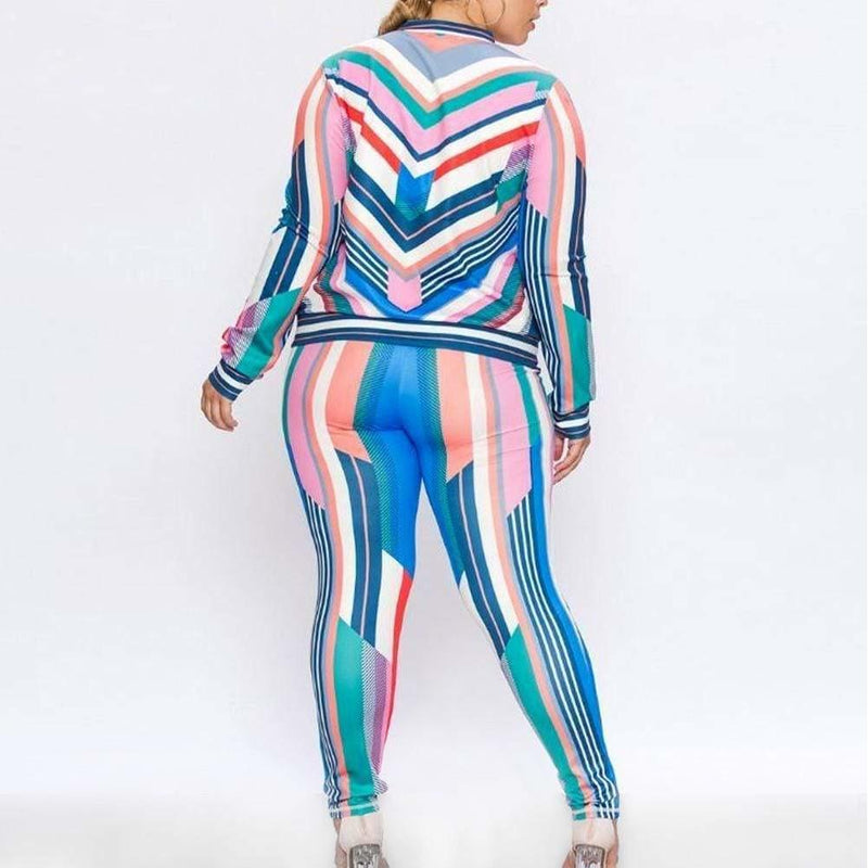 Posh Shoppe: Plus Size Luxe Track Suit Set, Pastel Stripes Bottoms