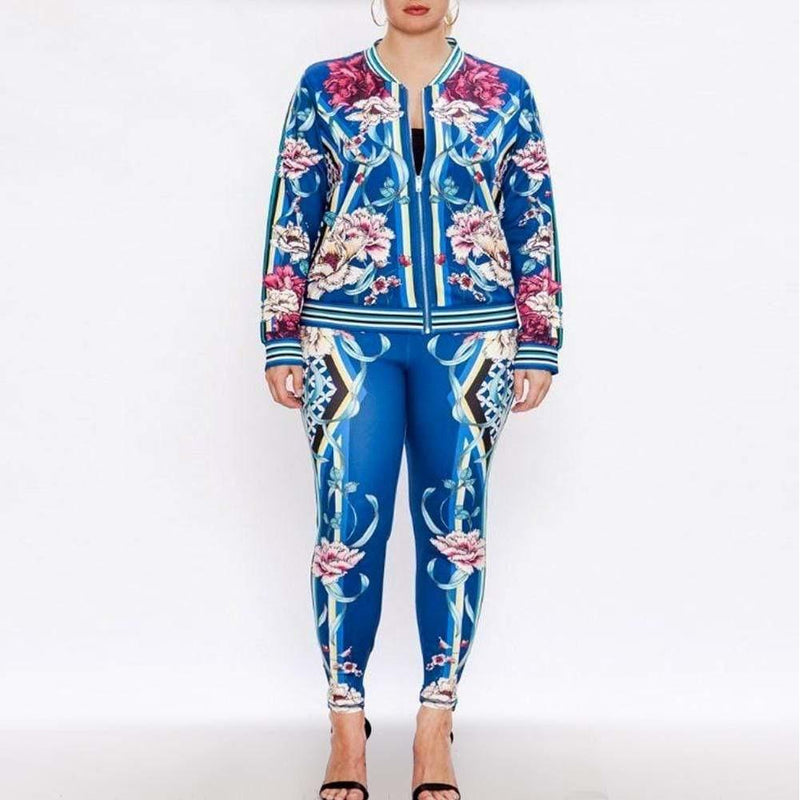 Posh Shoppe: Plus Size Luxe Track Suit Set, Blue Garden Bottoms