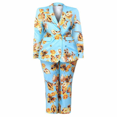 Posh Shoppe: Plus Size Blazer and Pants Suit Set, Blue Floral Bottoms