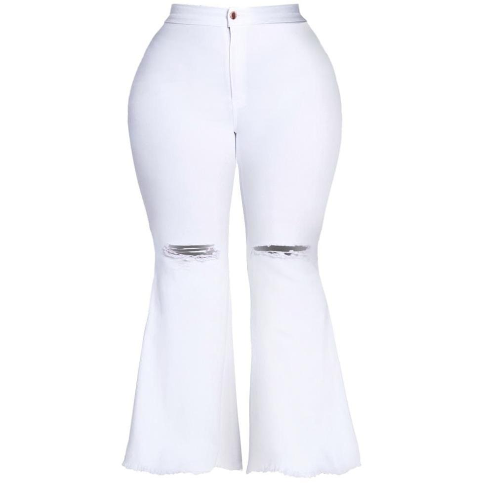 Posh Shoppe: Plus Size Torn Flared Jeans, White Bottoms