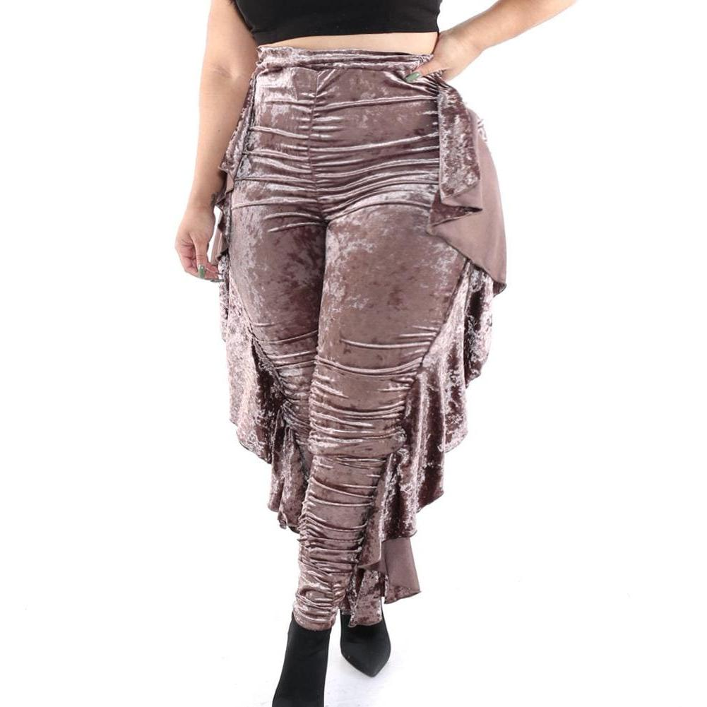 Posh Shoppe: Plus Size High Waist Ruffle Trim Velour Pants, Mocha Bottoms