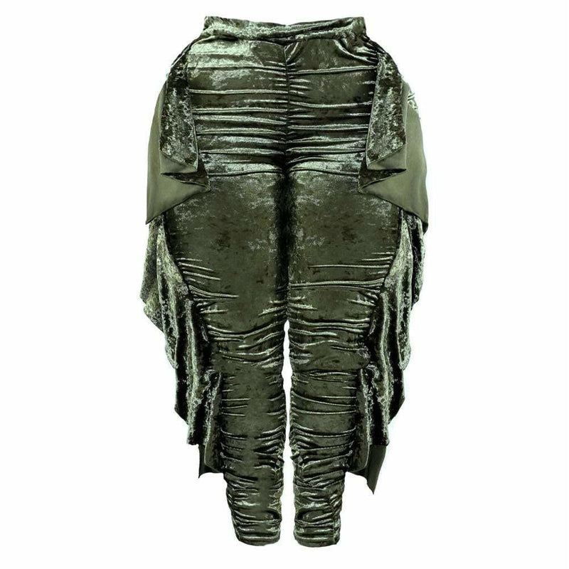 Posh Shoppe: Plus Size High Waist Ruffle Trim Velour Pants, Olive Bottoms