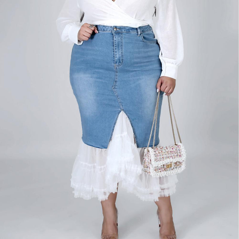 Posh Shoppe: Plus Size Denim and Tulle Skirt Bottoms