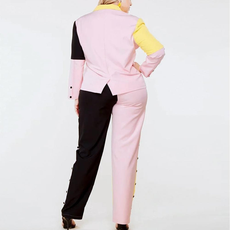 Posh Shoppe: Plus Size Pastel Color Block Suit Set Bottoms