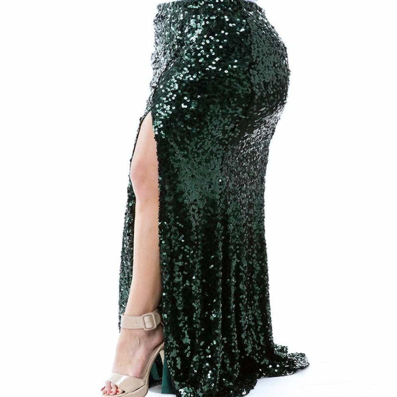 Posh Shoppe: Plus Size Sequin Maxi Skirt with Slit, Emerald Bottoms