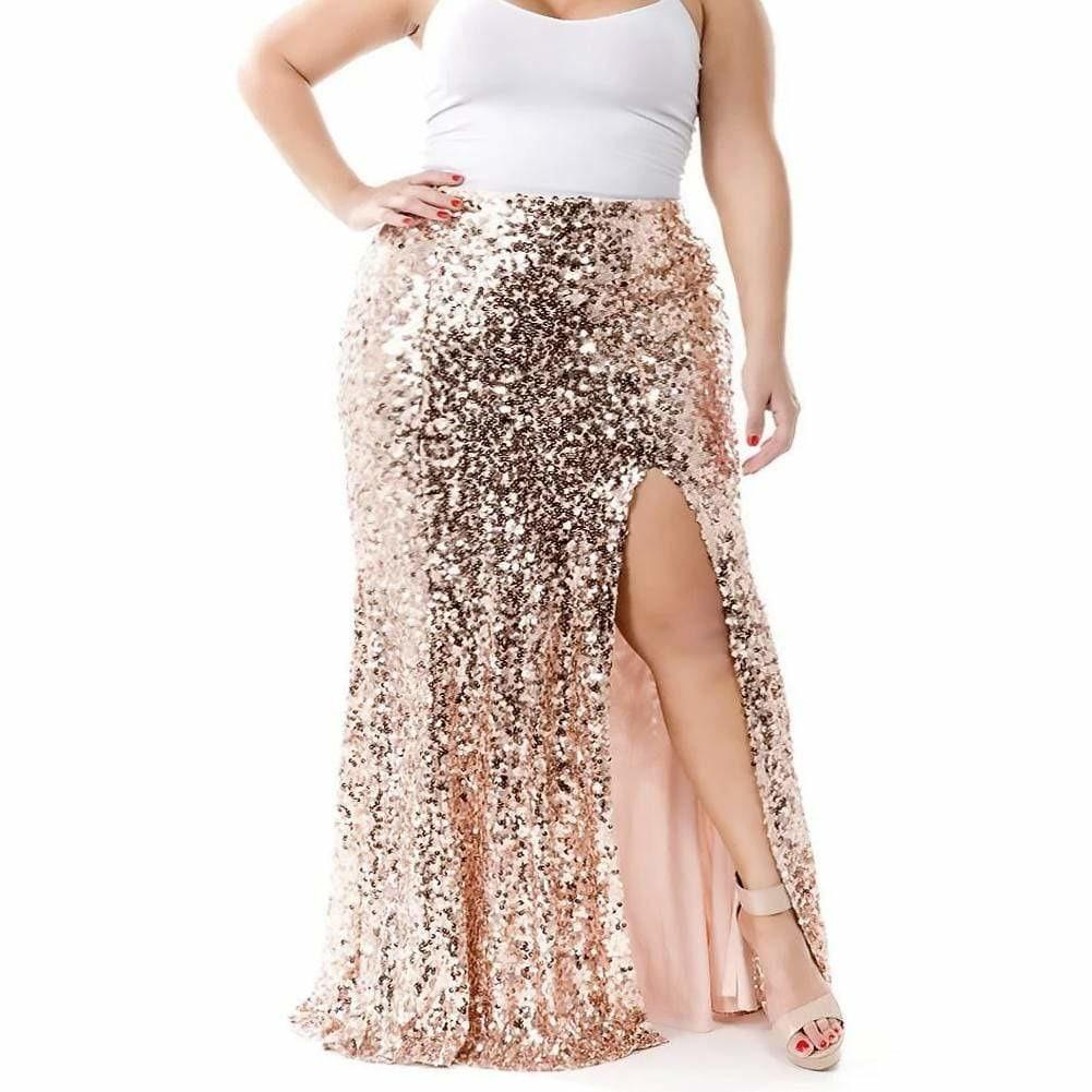 Posh Shoppe: Plus Size Sequin Maxi Skirt with Slit, Rose Gold Bottoms