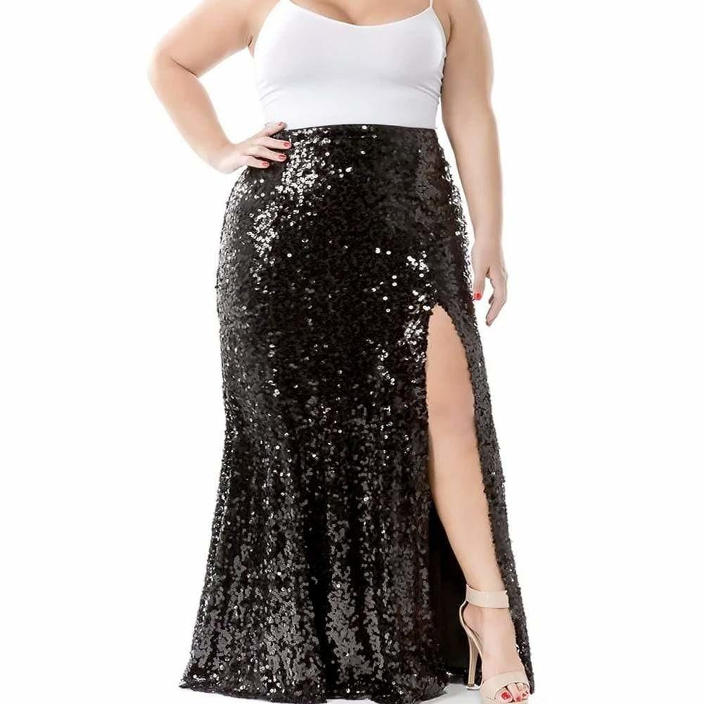 Posh Shoppe: Plus Size Sequin Maxi Skirt with Slit, Black Bottoms