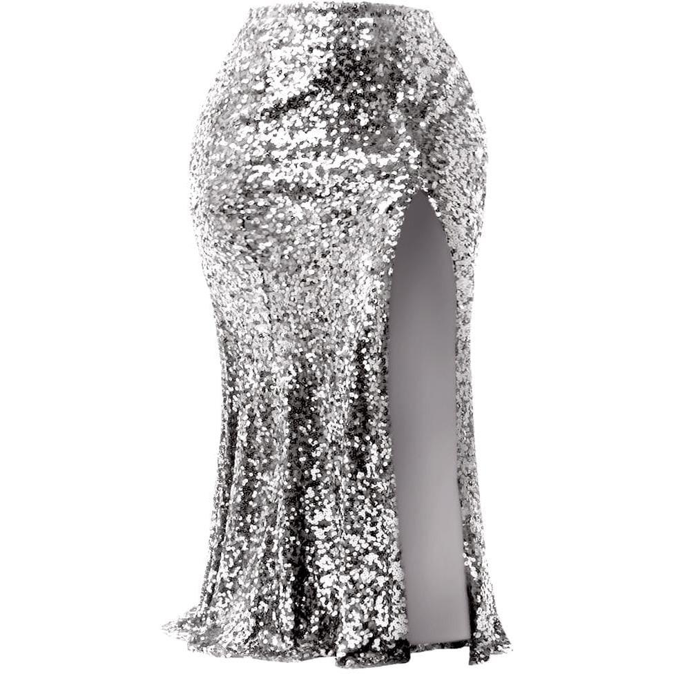 Posh Shoppe: Plus Size Sequin Maxi Skirt with Slit, Silver Bottoms