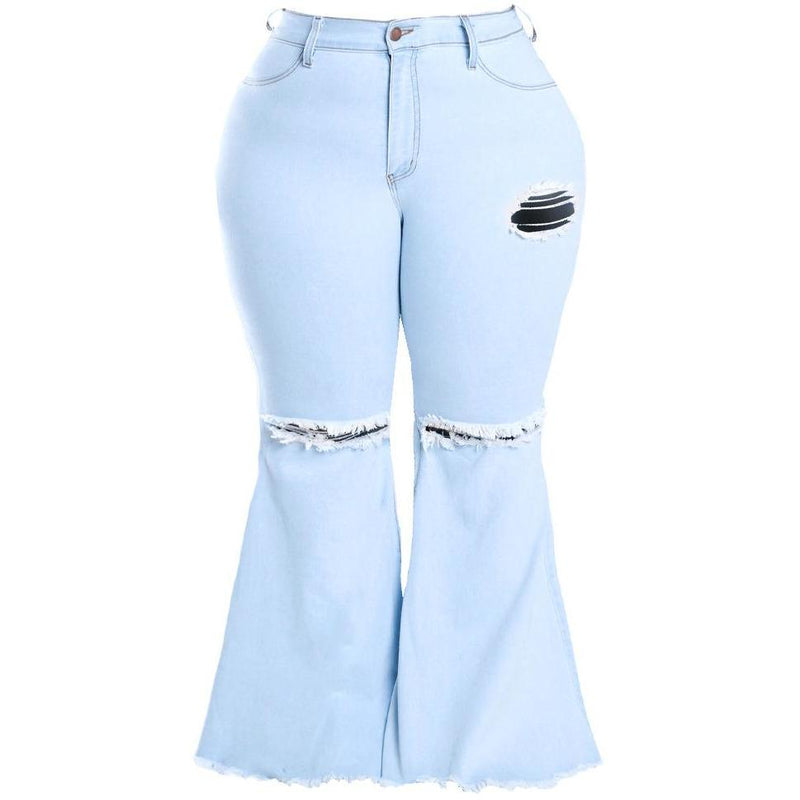 Plus Size Torn Flared Jeans, White