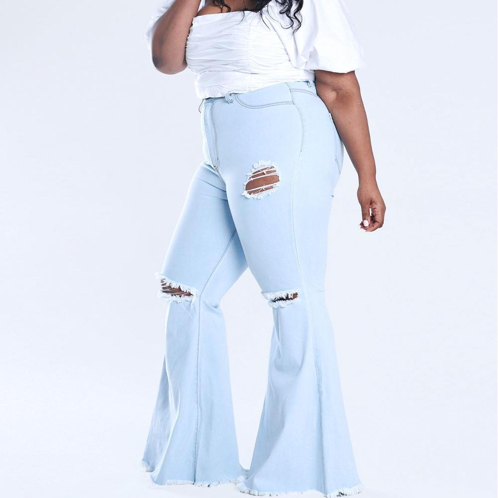 Posh Shoppe: Plus Size Torn Flared Jeans, Light Wash Bottoms