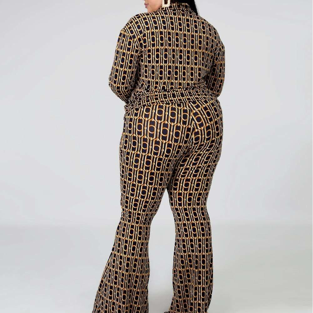 Posh Shoppe: Plus Size Shirt and Flares Coordinated Set, Chain Print Bottoms