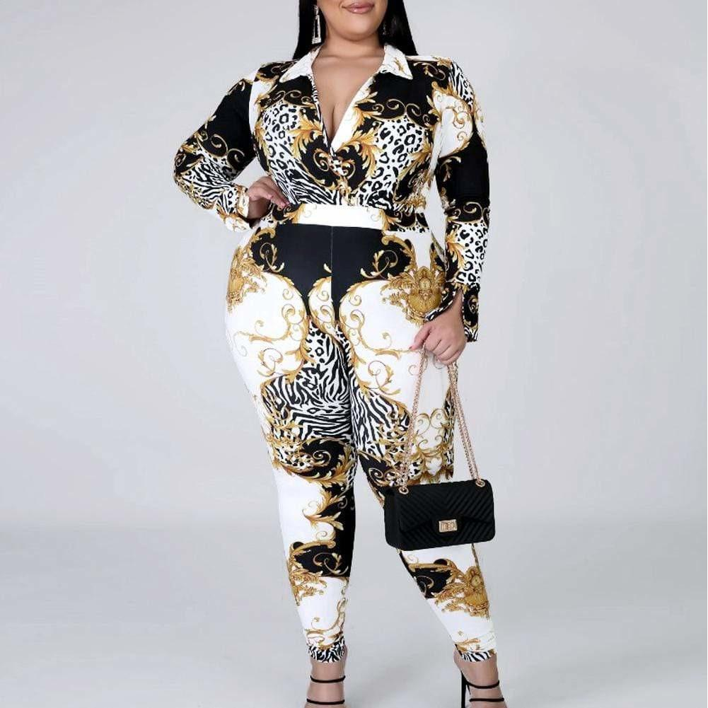 Posh Shoppe: Plus Size Mix Print Body Suit and Leggings Coordinated Set Bottoms