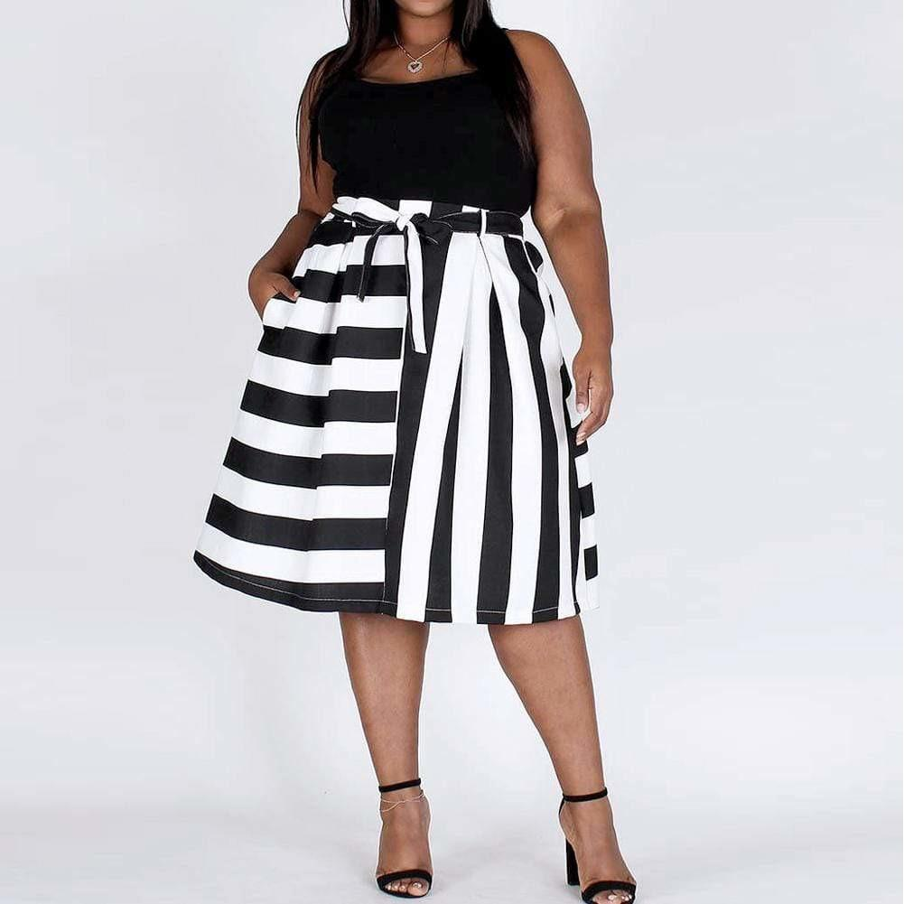 Posh Shoppe: Plus Size Mix Striped Skirt, Black & White Bottoms