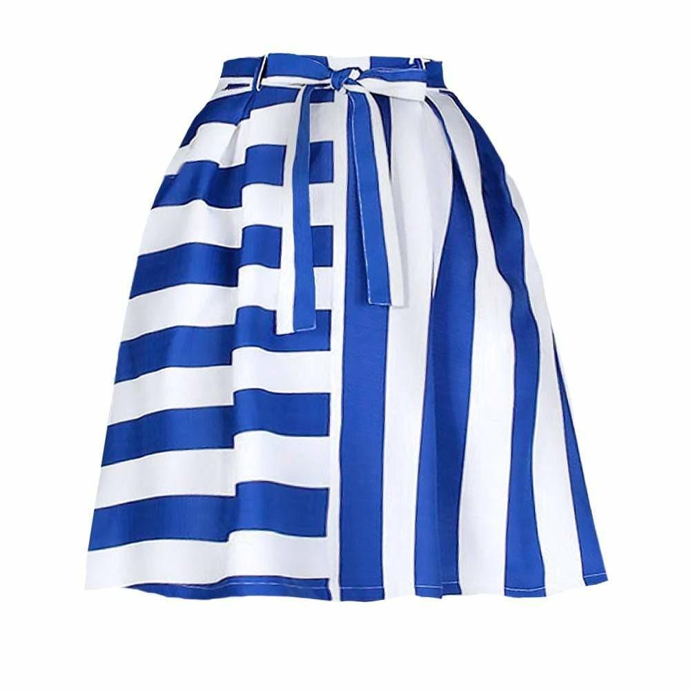 Posh Shoppe: Plus Size Mix Striped Skirt, Blue & White Bottoms