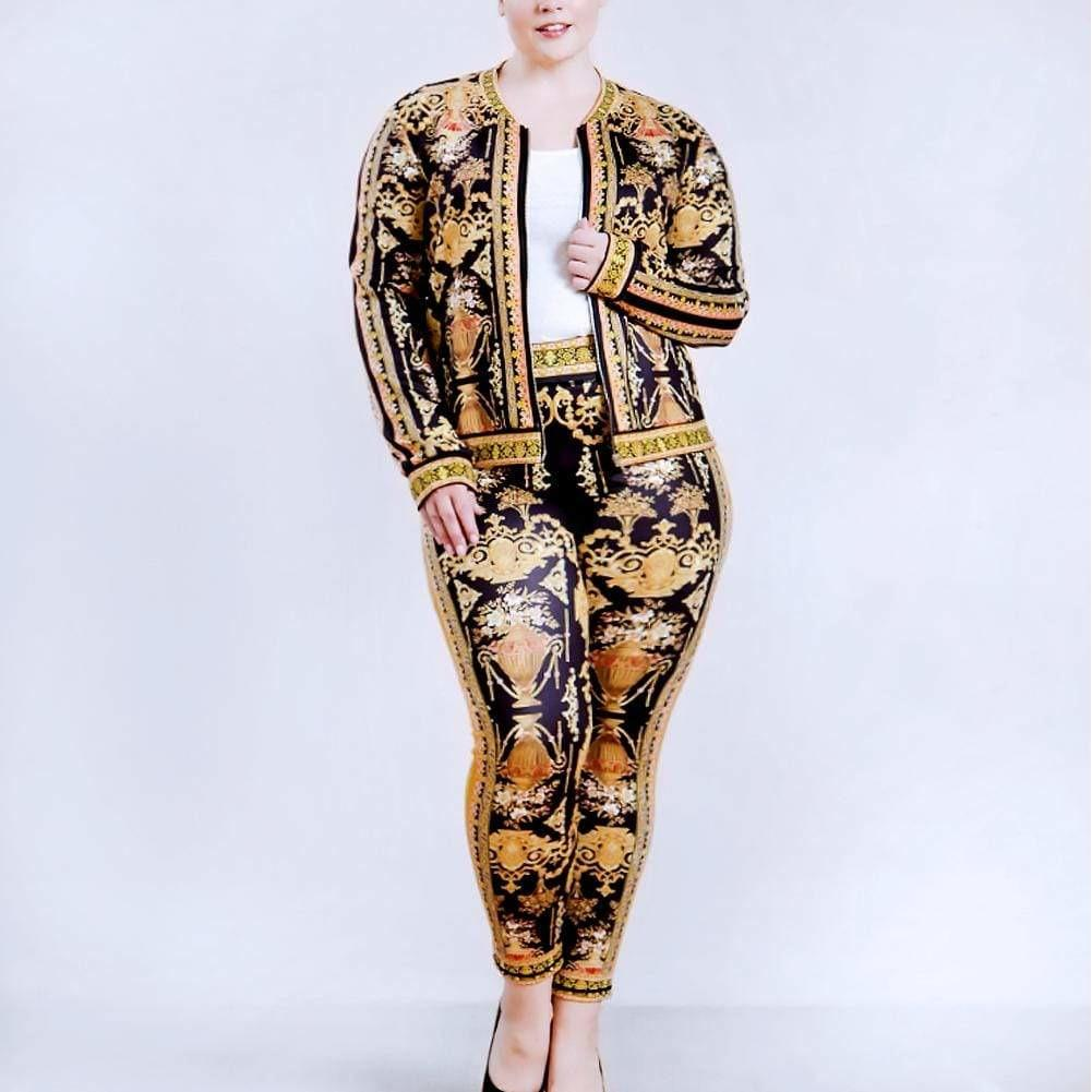 Posh Shoppe: Plus Size Luxe Track Suit Set, Couture Print Bottoms