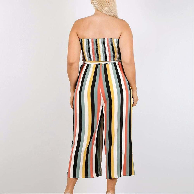 Posh Shoppe: Plus Size Striped Strapless Jumpsuit Bottoms