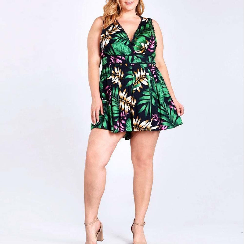 Posh Shoppe: Plus Size Tropical Print Romper Bottoms