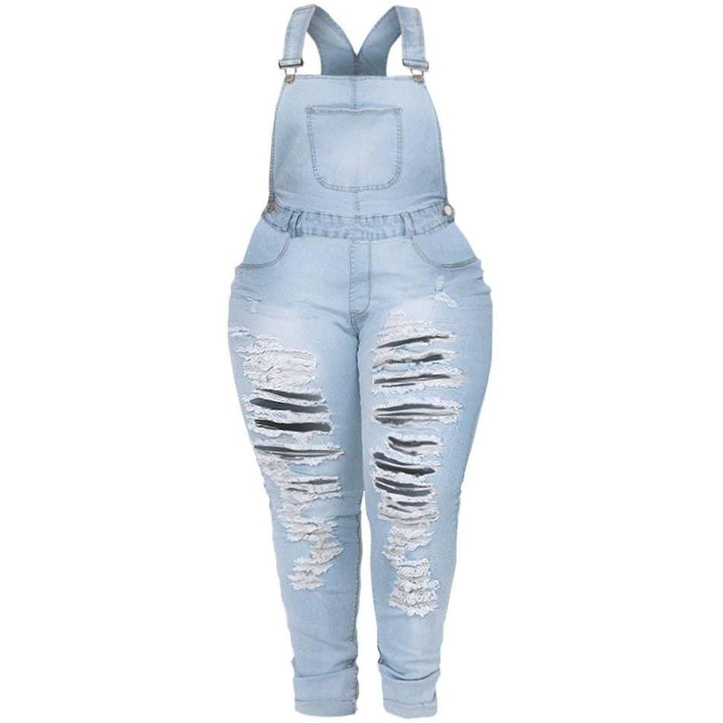 Posh Shoppe: Plus Size Distressed Light Wash Denim Overalls Bottoms