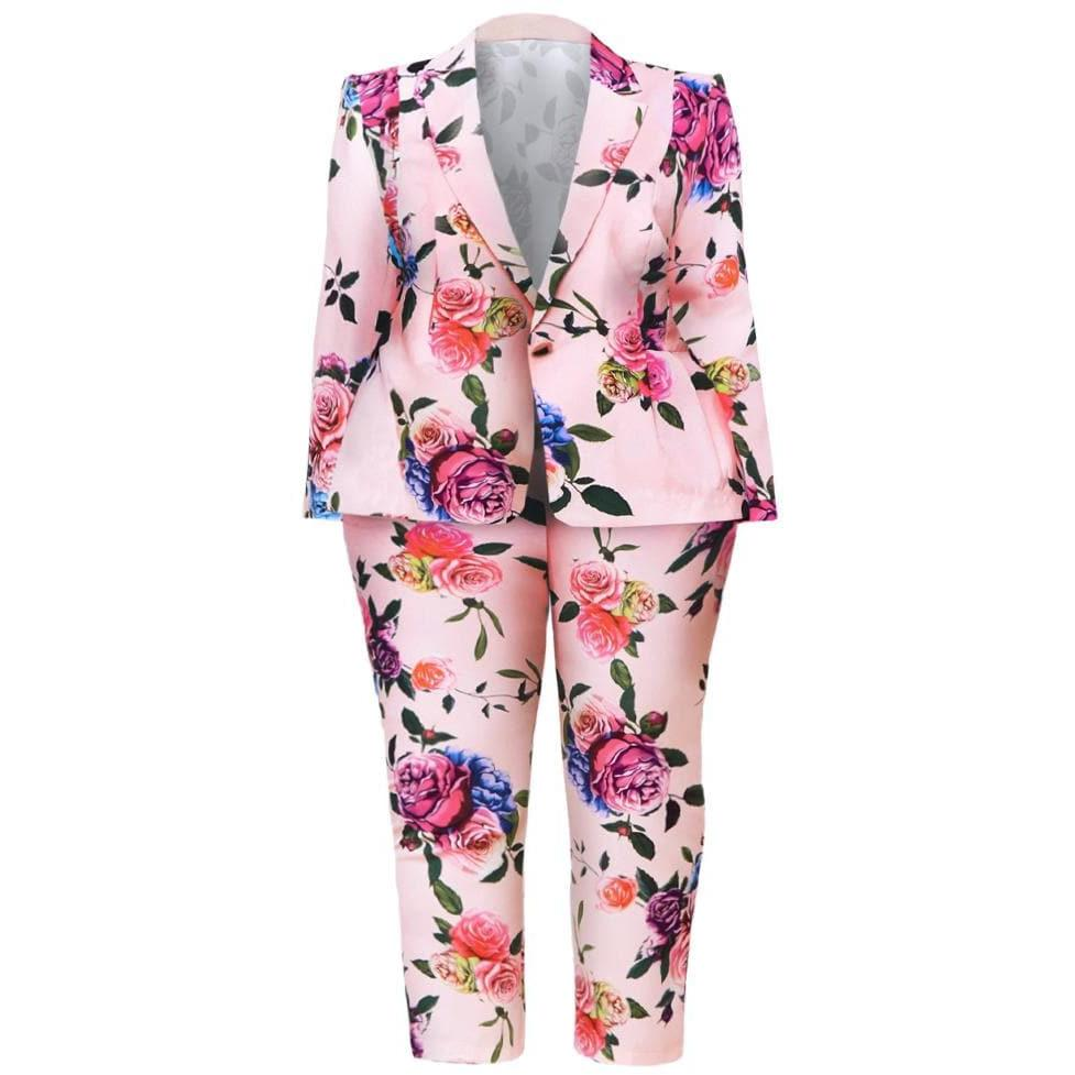 Posh Shoppe: Plus Size Blazer and Pants Suit Set, Pink Floral Bottoms