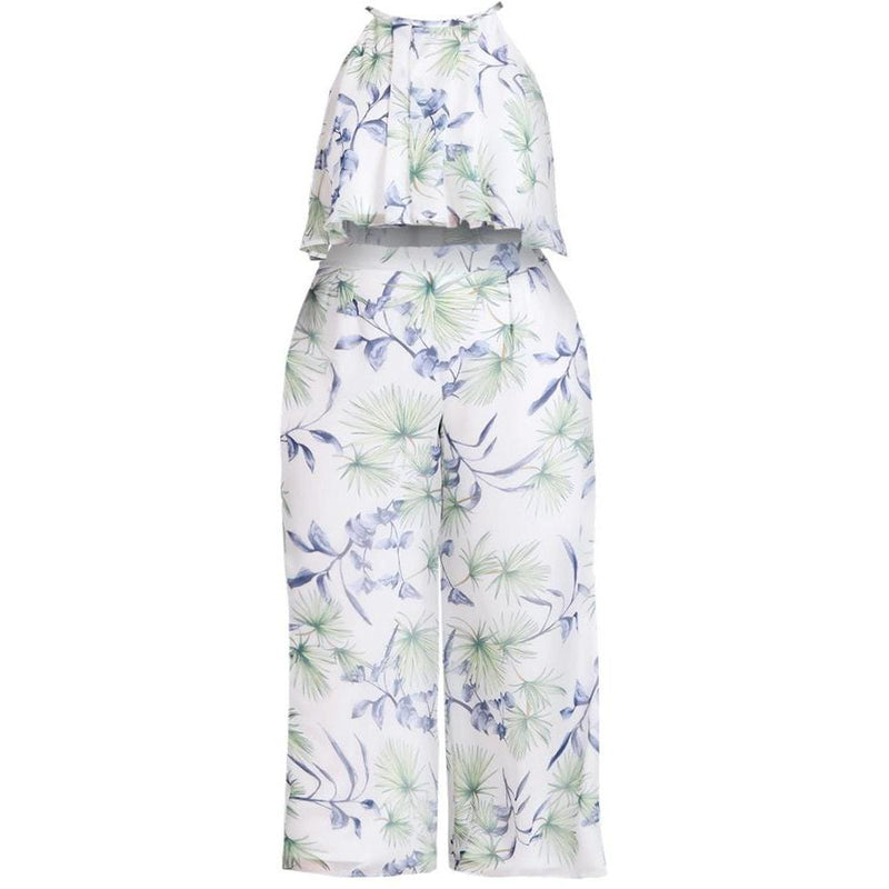 Posh Shoppe: Plus Size Chiffon Tank and Wide Leg Pants Set, Floral Print Bottoms