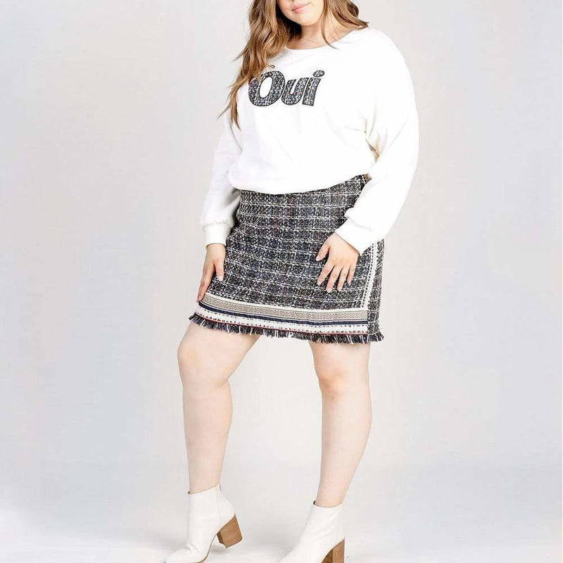 Posh Shoppe: Plus Size Tweed Top and Skirt Set Bottoms
