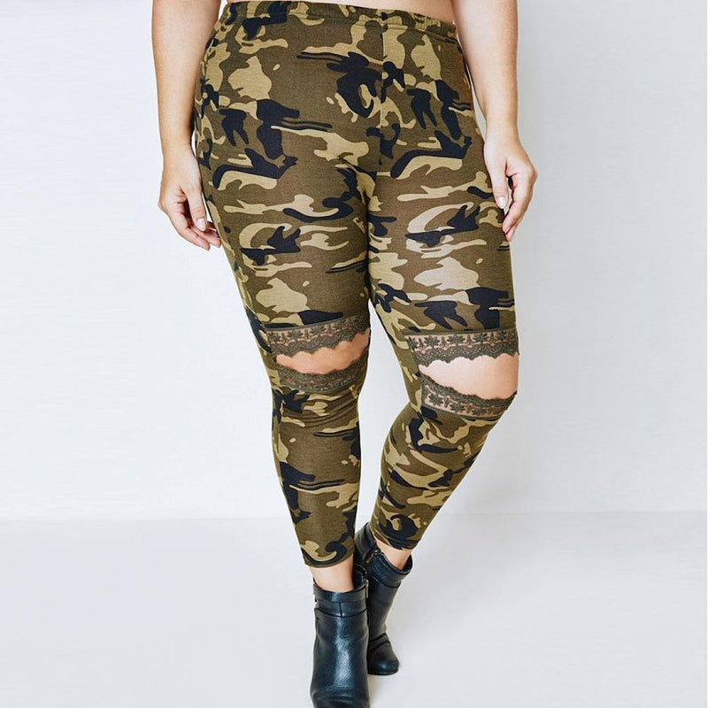 Plus Size Lace Cut Out Leggings, Camo