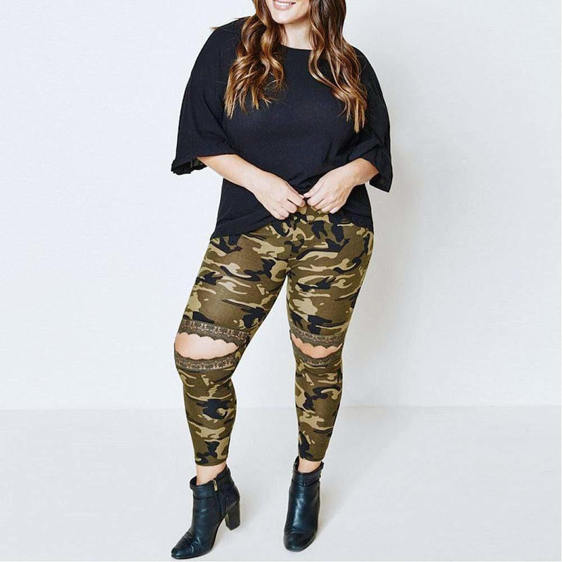Posh Shoppe: Plus Size Lace Cut Out Leggings, Camo Bottoms
