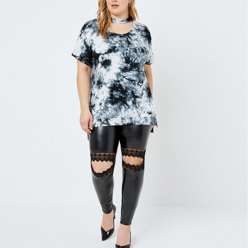 Posh Shoppe: Plus Size Lace Cut Out Leggings, Faux Leather Bottoms