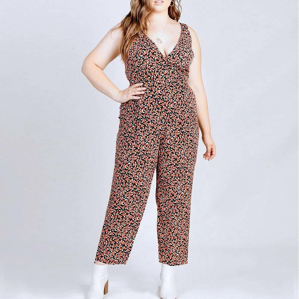 Posh Shoppe: Plus Size Ditsy Floral Print Jumpsuit Bottoms