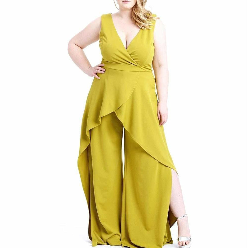 Posh Shoppe: Plus Size Split Leg Ruffle Jumpsuit, Citron Bottoms