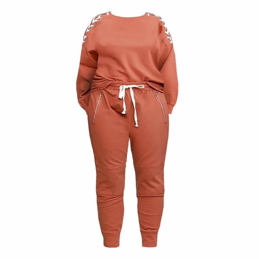 Plus Size Lace Up Top and Joggers Set, Rust