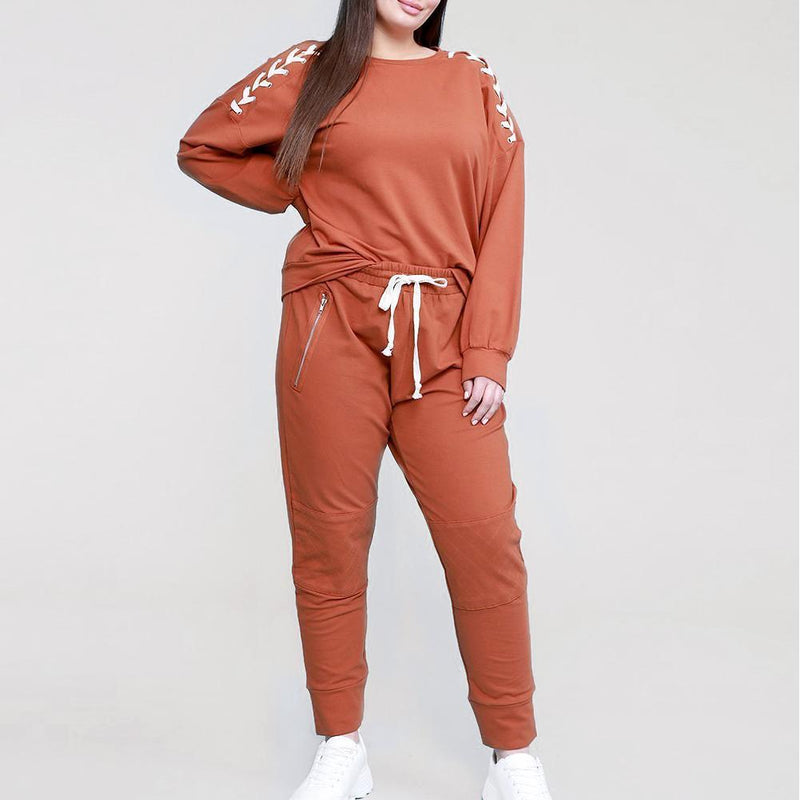Posh Shoppe: Plus Size Lace Up Top and Joggers Set, Rust Bottoms