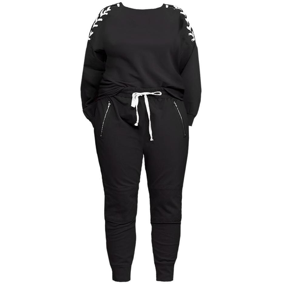 Plus Size Lace Up Top and Joggers Set, Black