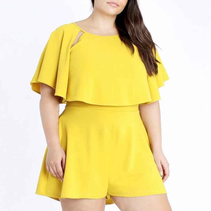 Posh Shoppe: Plus Size Cape Romper, Lemon Bottoms